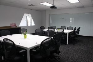 Meeting room with single table